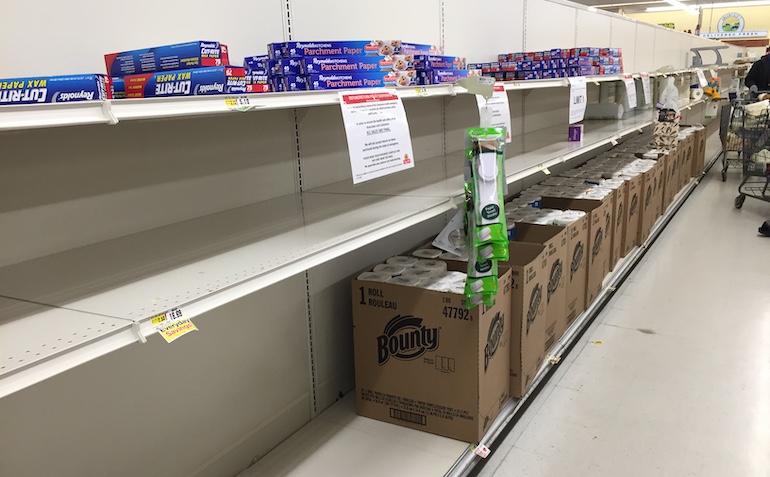 COVID empty supermarket shelves-paper towels.JPG