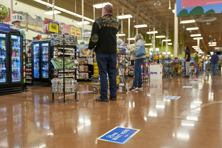 Kroger-social distancing-floor decals