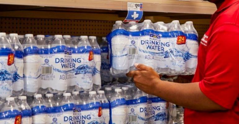 HEB grocery worker-coronavirus restock-bottled water