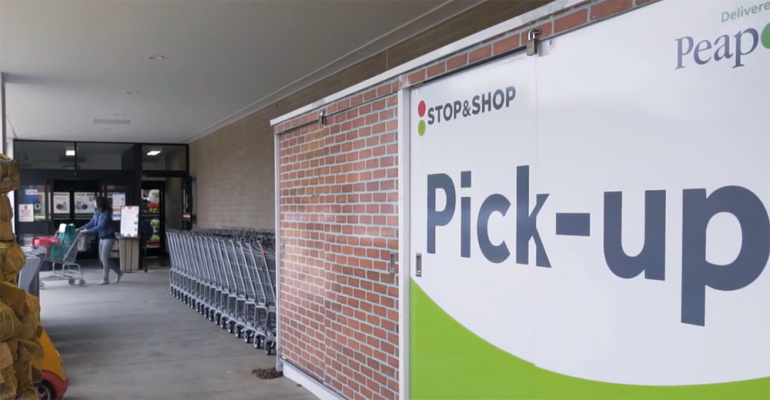 Stop & Shop online grocery pickup sign