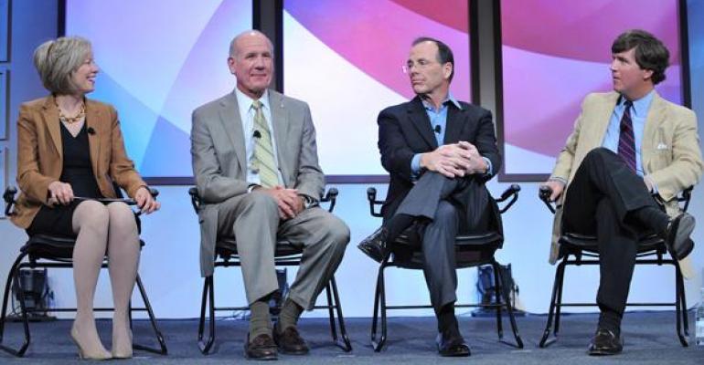 Left to right Judy Spires Steve Smith Steve Burd moderator Tucker Carlson a contributor to Fox News