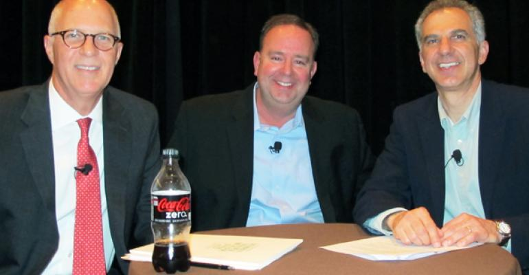 From left Mark Irby of Publix Tim Massa of Kroger and Michael Sansolo of the CocaCola Retailing Research Council Photo by Greg CohenProView Events