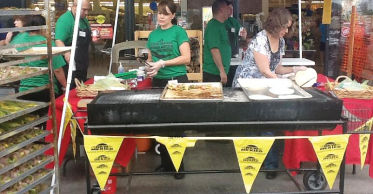 Albertsons store employees cooked up burritos and tacos using Hatch chiles during a roasting event