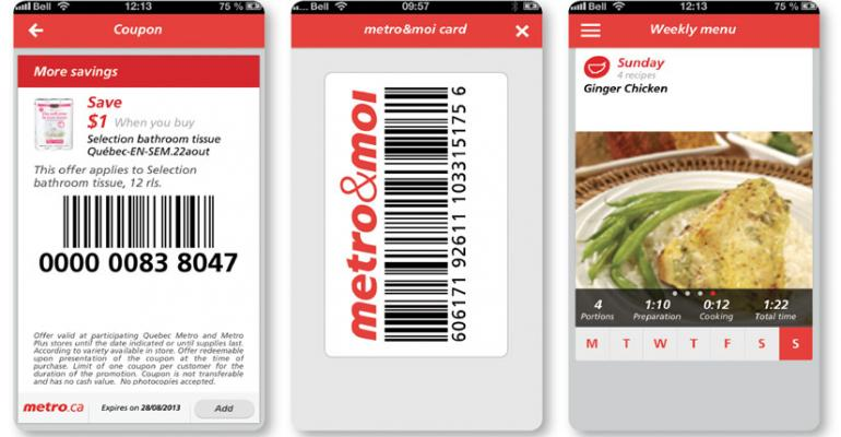 Electronic coupons left and a library of more than 4500 recipes right are part of the Metro ldquodigital ecosystemrdquo