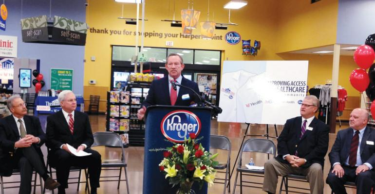 Scot Hendricks VP of Merchandising Kroger announces The Little Clinicrsquos affiliation with UC Health at the Harperrsquos Point clinic in Cincinnati