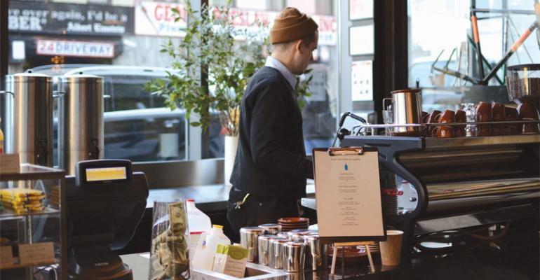 Coffee stations like this one at Gotham West Market are an example of minishop foodservice