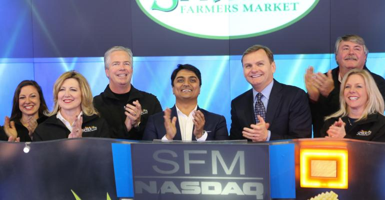 Sprouts officials rang the opening bell at the NASDAQ stock exchange Monday