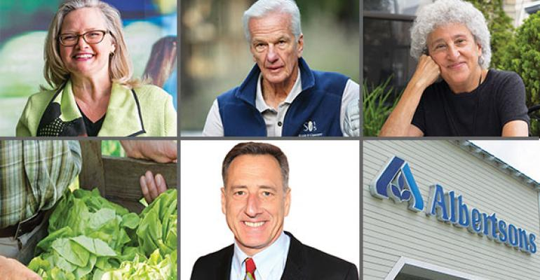 Left to right top row Margo Wootan Jorge Paulo Lemann and Marion Nestle bottom row lettuce crop for FSMA Vermont Gov Peter Shumlin and Albertsons Cerberus Capital Management