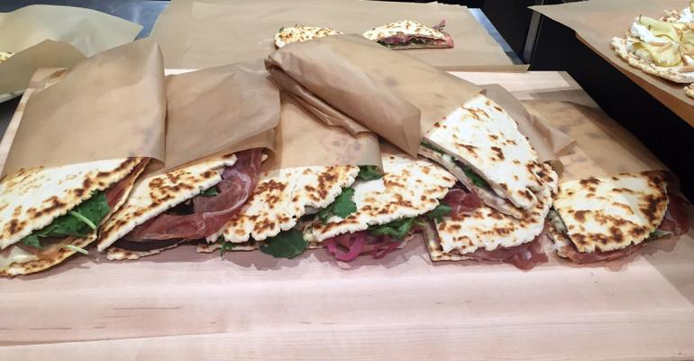 The downtown location is introducing an Italian flatbread sandwich called the piadina to New Yorkers Photo by Bret Thorn