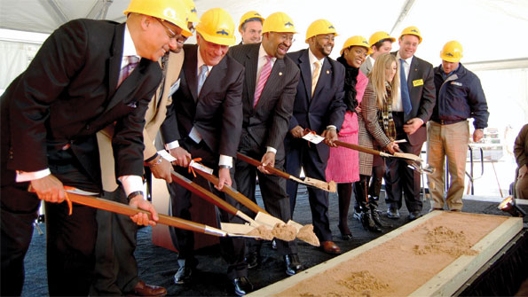 ShopRite's Jeff Brown (second from right) and local dignitaries break ground on Brown's newest food desert store, slated to open in Philadelphia in 2013.