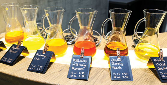 Colorful handcrafted tea drinks are on display at Starbucks' new tea bar.
