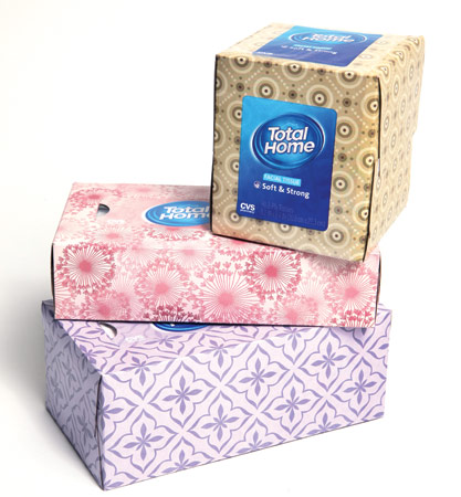 CVS' Total Home tissue boxes are made from 100% recycled paperboard.