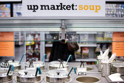 "Duane Reade's  ""up market"" location offers hot soups ready to eat."