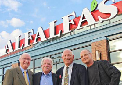 Alfalfa's founders, pictured earlier this year (from left): Jimmy Searcy, Barney Feinblum, Mark Retzloff and Hugo van Seenus.