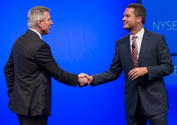 Walmart CEO Doug McMillon introduces new Walmart U.S. president and CEO Greg Foran at the 2014 analyst meeting in Bentonville, Ark.