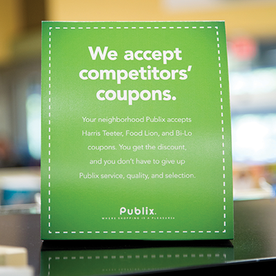 New Publix stores emphasize a generous coupon policy stressing a combination of value and service.