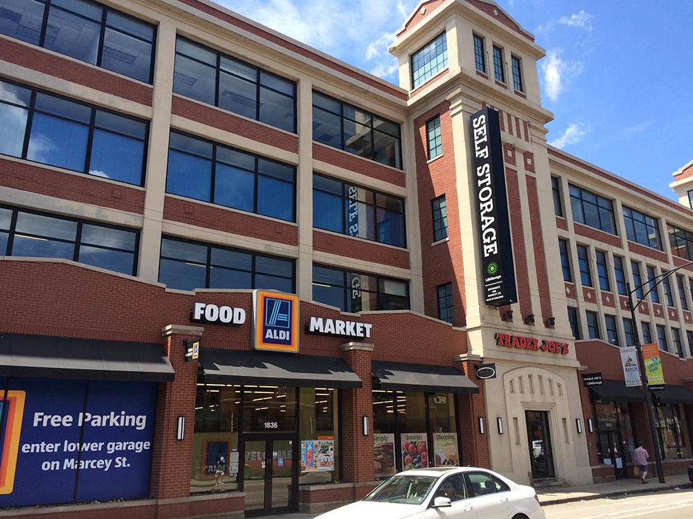 A Trader Joes and an Aldi store are co-located in the same Chicago building