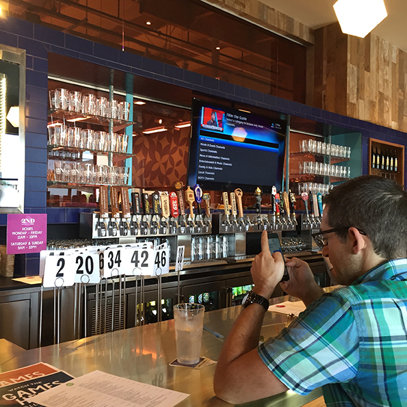 The bar served 36 beers on tap and 12 wines by the glass.