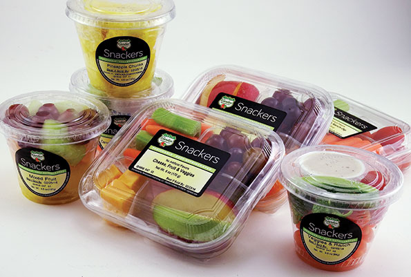 Snack-size items like fruits and vegetables with dip have been popular at Buehler's Fresh Foods.
