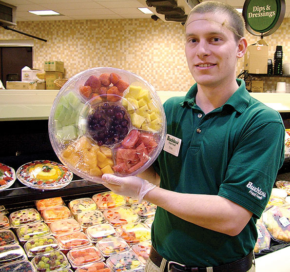 Buehler's Fresh Foods features a special value-added case in the produce department.