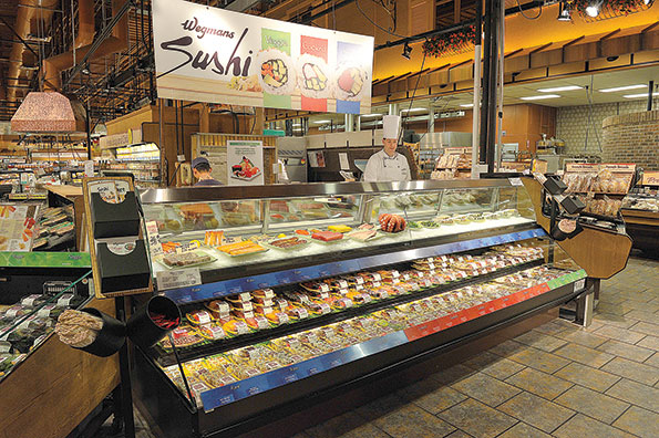 At Wegmans Food Markets prepared foods, such as freshly rolled sushi, are among the primary traffic drivers.