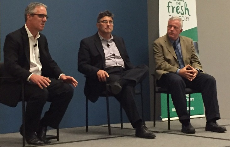 Paul Kneeland (left) and Andrew Lunt (right) along with co-panelist Steve Jarzombek of Roundy's.