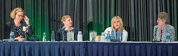 """Shopping for Heatlh"" panelists discussing food as medicine are, from left: Barb Ledermann, Unilever; Melanie Hansche, Organic Life; Maureen Murphy, Price Chopper/Market32; and Sue Borra, chief health and wellness officer, FMI Foundation."