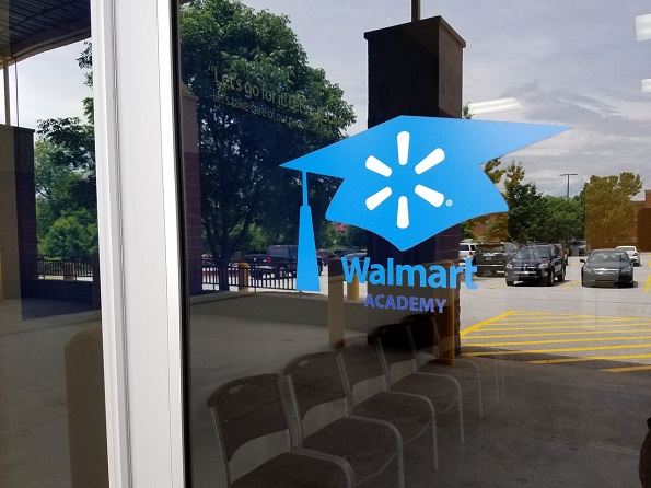 Entrance to Walmart Academy, a 3,000-square-foot classroom facility adjacent to a Walmart Supercenter in Fayetteville, Ark.