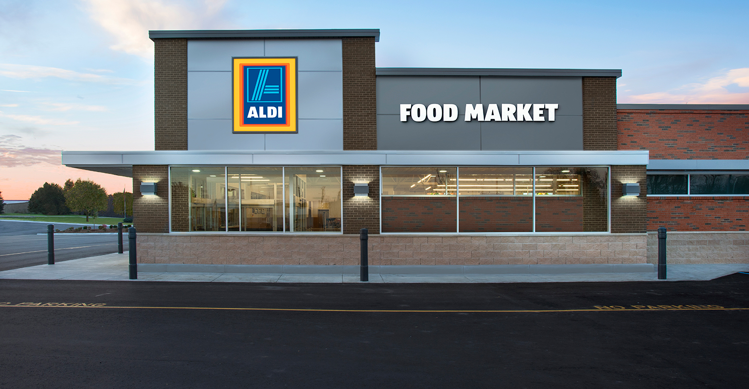 Aldi remodels stores near first lidl sites supermarket news for Store building design