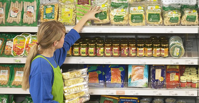 grocery shelves