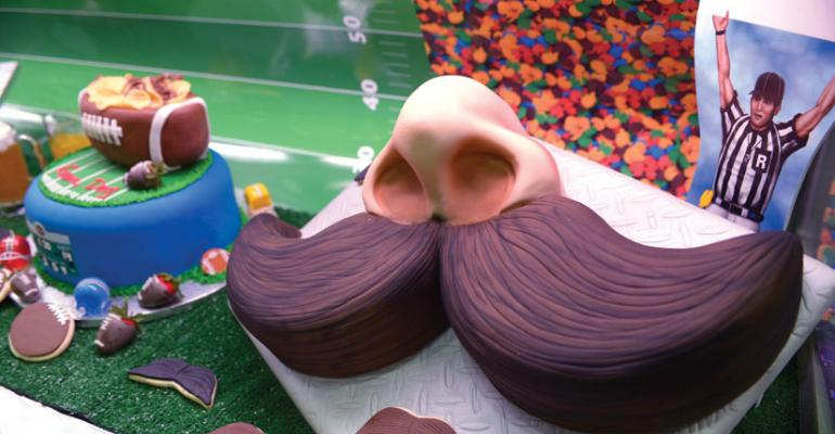 The mustache cake was a big hit this year at IDDBA in Orlando Fla
