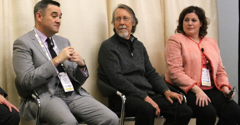 Panelists from left Raymond McCall Ahold USA Thomas Honer Harvest Market IGA and Stephanie Steiner Unified Grocers Photo by Michael Kitada
