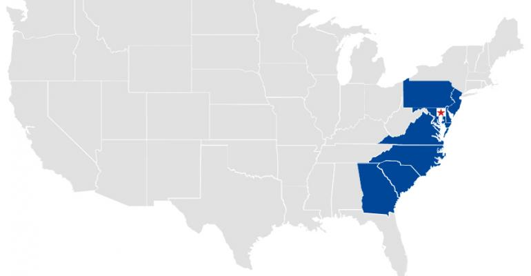 The red star pinpoints Cecil County Md in the eight states of Lidl39s projected area of operations