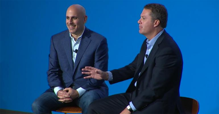 New Walmart ecommerce CEO Marc Lore and Walmart CEO Doug McMillon at the investor meeting