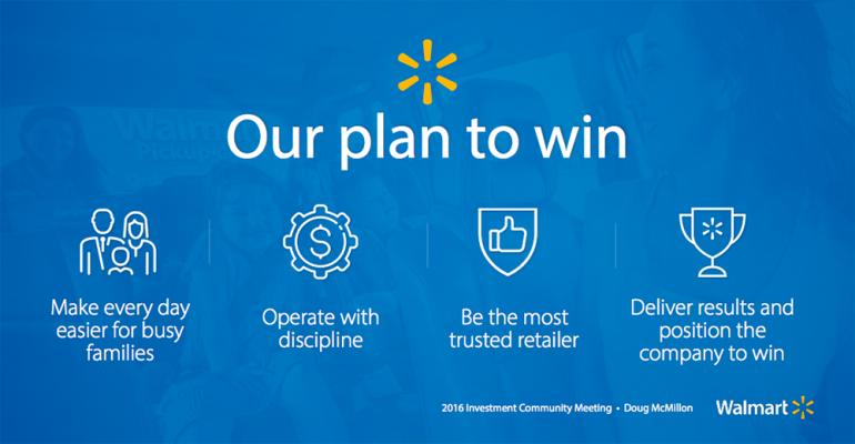Walmart CEO Doug McMillon outlined a fourstep quotplan to winquot during Thursday39s presentation