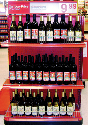 MommyJuice wine was featured prominently at the front-end in select Target stores Mother's Day weekend.