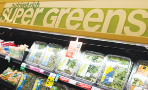 Safeway employs an extensive, clean signage program that highlights nutrients and health benefits.