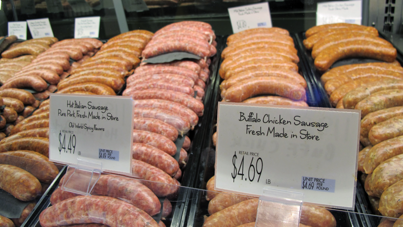 Store-made product like sausages help distinguish the offerings.