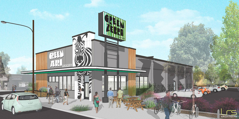 An artist's rendering of the planned location in the Kenton neighborhood of Portland.