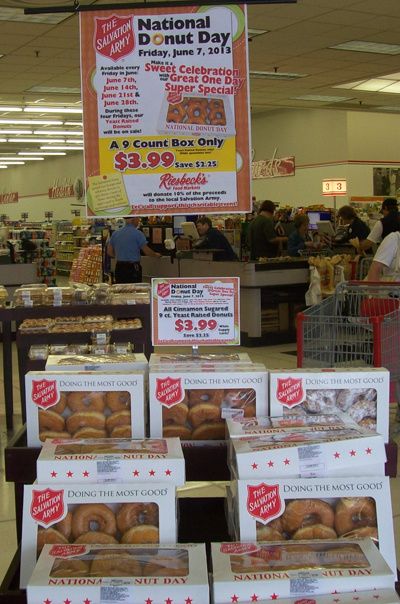 Riesbeck's offerd yeast-raised donuts Salvation Army logo boxes.