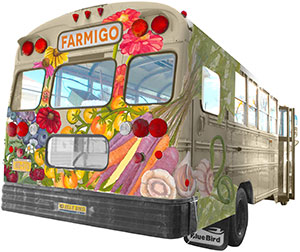 Farmigo's Karli Miller-Hornick and carpenter Craig Salino are building a 'Farmhouse on wheels' to take on tour. The bus mural was designed by Courtney Beglin.