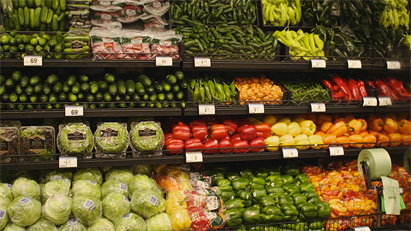 Produce on display at a Kroger store.
